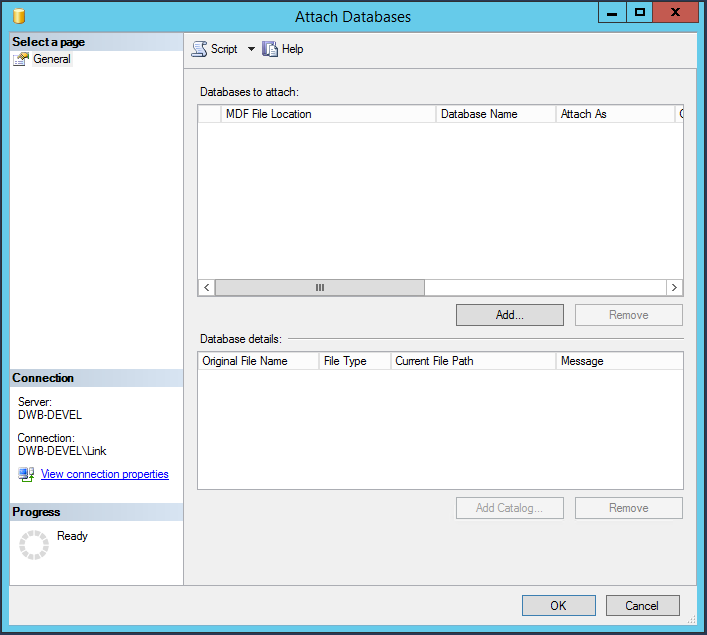Attach Databases dialog
